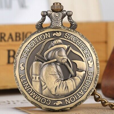Retro Communist/Fireman Men's Analog Quartz Pocket Watch Necklace Pendant Chain
