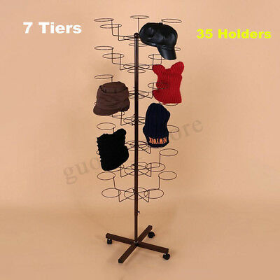 35 Hooks 7 Tier Hat Cap Jewelery Rotating Spinning Stand Rack Display
