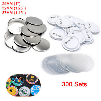 300PCS Blank Pin Button Parts Supplies for Badge DIY Making Machine 25/32/37mm
