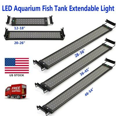Classic LED Aquarium Light White & Blue Fish Tank Light with Extendable Brackets
