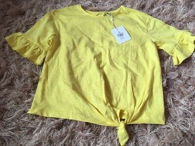 Girls Age 6 Years Yellow Outfit Tie Hem Top New Bnwt