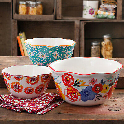3-Piece Floral Nesting Bowl Set Pioneer Woman Decorated Stoneware