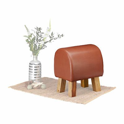 Trestle Footstool, Leather Stool, Padded, Brown, Real Leather Seat