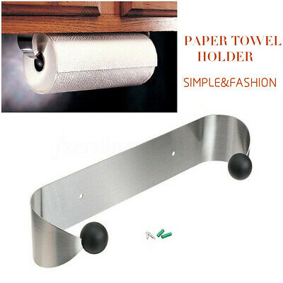 Paper Towel Holder Under Cabinet Shelf Wall Mount Stainless Steel Rack Kitchen