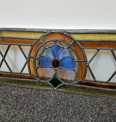 Vintage Original Reclaimed Leaded Stained Glass Window Insert Panel