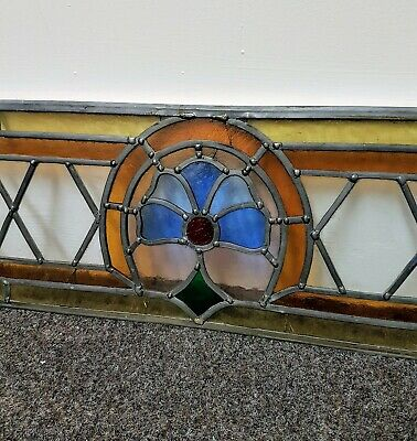 Vintage Reclaimed Leaded Stained Glass Window Insert Panel