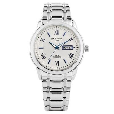 Holuns Quartz Watch Mens Date Wrist Watch Stainless Steel Band   Business Style