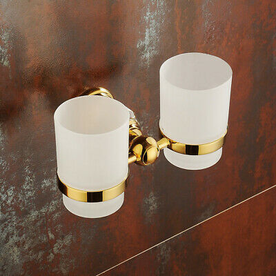 Classic Crystal Wall-Mount Double Toothbrush Holder with Tumblers in Gold