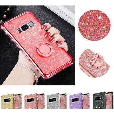 360° Ring Stand Bling Glitter TPU Diamond Case Cover For Samsung Galaxy A50 M30