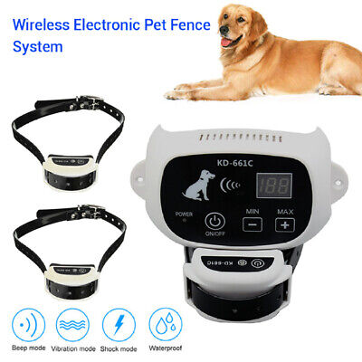 Electric Wireless Fence System Pet Dog Transmitter Collar Alarm Containment