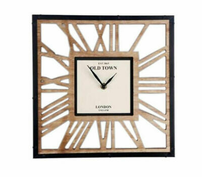 Contemporary Skeleton Waxed Wooden Cut Out Clock 30cm