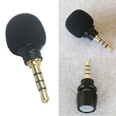 AU 3.5mm Mini Stereo Microphone Mic For Recorder Smart Phone Cell Phone Black