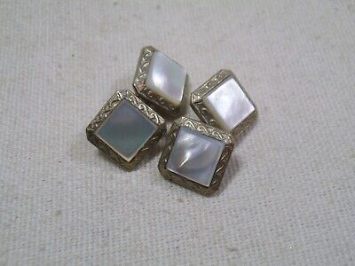 Vintage Art Deco Silver Tone Square Mother o Pearl MOP Double Sided Cufflinks-ic