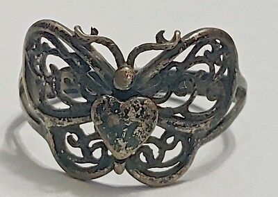 vintage antique sterling silver butterfly heart ring HTF sz 13 0r scarf ring F