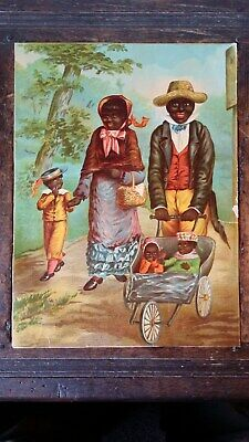Large Antique Victorian Lithograph - Black African ? Family With Children & Pram