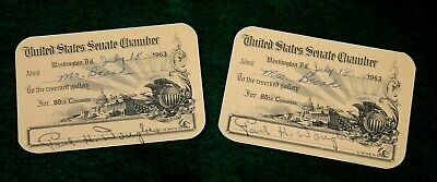 PAIR OF AUTHENTIC 1963 U.S. SENATE CHAMBER VISITORS PASSES 88th CONGRESS