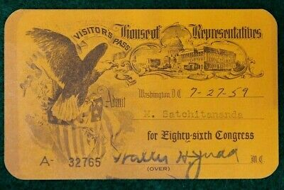 Authentic 1959 House Of Representatives Visitors Pass
