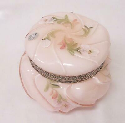"Fenton Glass - Wave Crest Puff Box ""Pink Sunset"" Overlay - Hand Painted"