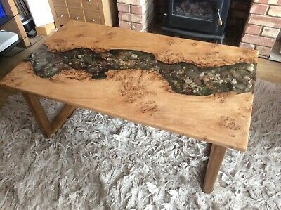 CONTEMPORARY LIVE EDGE river coffee table wood resin home