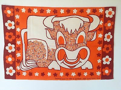 Vintage Retro Fergus The Bull By Michael For Oxo Irish Linen Tea Towel Unused