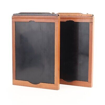 Lot of 2 Wooden 5x7 Large Format Plate Holders w/ 4x5 Film Inserts