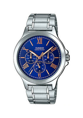 Casio MTP-V300D-2A Men's Standard Stainless Steel Multifunction Blue Dial Watch