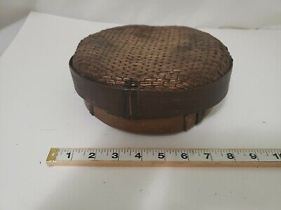 1900's Antique Japanese Basket Lunch  Food Bamboo 2 peices