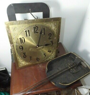 Antique Colonial MFG Co Germany Grandfather Clock Works, Face & Chimes Runs