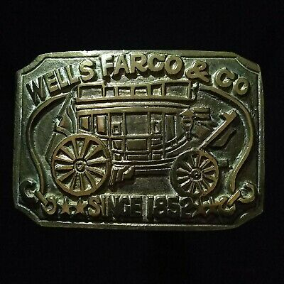 Vintage Wells Fargo & Co Stagecoach Belt Buckle Since 1852 Collectible