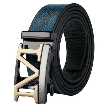 M Letter Automatic Buckles Mens Belts Blue Real Leather Ratchet Waist Straps