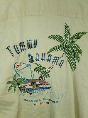Tommy Bahama Silk Embroidered Channel Surfing All Star Men's Size Medium Shirt