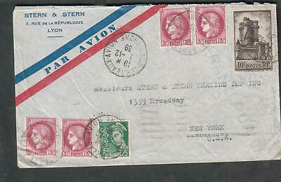 France December 1939 WWII cover Stern & Stern Lyon Terreaux Avion cancel to NY