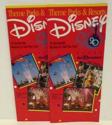 Walt Disney World Resort Parks Informational Brochure Lot / 2 20Th Anniversary