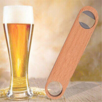 1Pc Wine Bar Tool Speed Bottle Opener Wooden Cover Beer Cap Hotel Flat Board