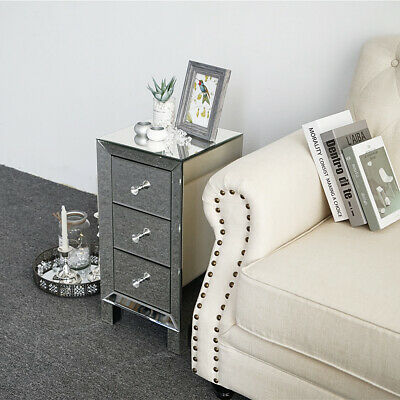 3 Drawer Mirrored Cabinet Table Dresser Storage Nightstands End Table Silver