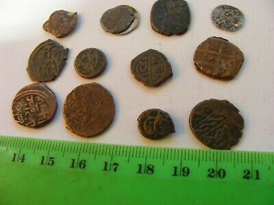 Lot of 12 ANTIQUE Ottoman/Muslim Small Bronze Coins,mixed good condition used.
