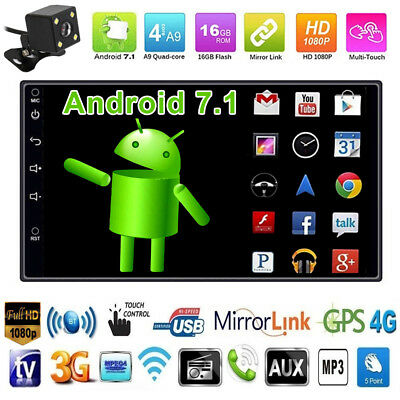"""Bluetooth Car Stereo Radio Android 7.1 2 DIN 7"""" MP5 Player GPS Wifi +Rear Camera"""