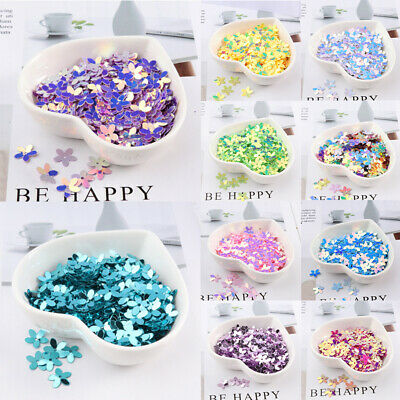 350Pcs Craft Loose Sequins 10mm Resin Flower Sewing Paillette Flat DIY Bead New