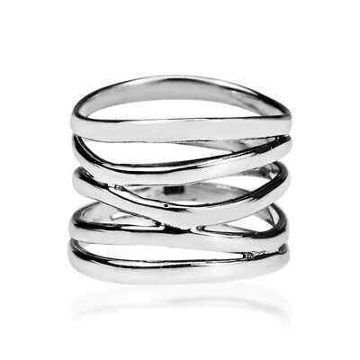 Classic 925 Silver Round Cut Coil Wrap Engagement Rings Bridal Jewelry Gifts
