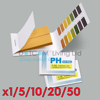 1/5/10 Litmus pH 1 to 14 Test Paper 80 Strips Universal Full Range Strips Tester