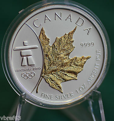 2008 CANADA $5 Gold plated Silver Maple Leaf from 3 coin Olympic set - pristine