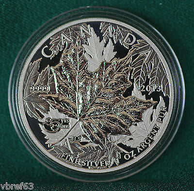 2013 CANADA 25th anniversary of Silver Maple Leaf Piedfort Reverse proof 1 oz.
