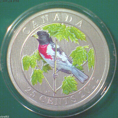 2012 CANADA 25 cent Coloured Coin - Rose-breasted Grosbeak - coin only
