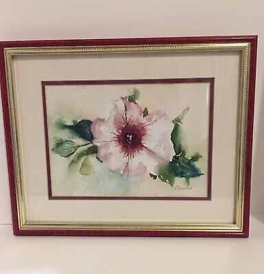 Vintage Hand Painted Watercolor Painting Signed Floral Red Green Wild Rose