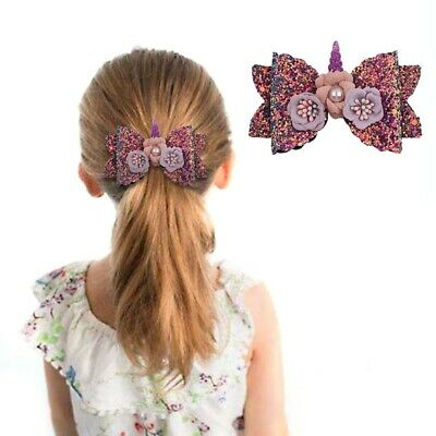Refined Girl Hairpin Bowknot Barrette Glitter Unicorn Hair Clips Kid Bow Hairpin