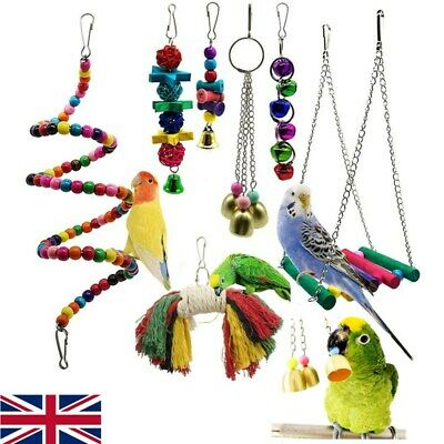 7 Pcs Pack Beaks Metal Rope Small Parrot Budgie Cockatiel Cage Bird Toys 2019
