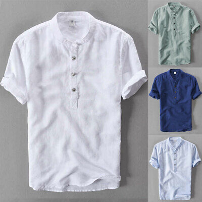 UK Men's Linen Short Sleeve Solid Shirts Casual Loose Dress Soft Tops Blouse Tee