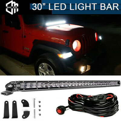 """150W 30"""" LED Light Bar Front Hood Top With Wiring Kit For 18+ Jeep Wrangler JL"""