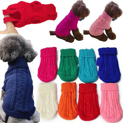 ITS- Pet Dog Cat Knitted Jumper Warm Winter Sweater Coat Jacket Puppy Clothes Ea