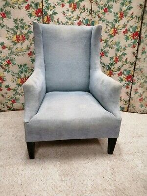 Antique Edwardian square wing armchair in traditional shape for upholstery
